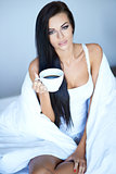 Young woman having a morning cup of coffee