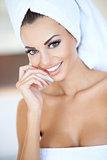 Beautiful tanned woman in a beauty portrait