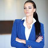 Serious pensive businesswoman