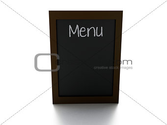 blank menu board, isolated white background