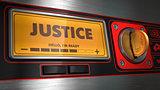 Justice on Display of Vending Machine.