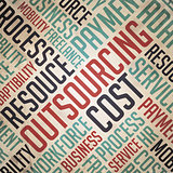 Outsourcing - Retro Word Cloud Concept.