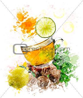 Watercolor Image Of Green Tea