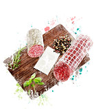 Watercolor Image Of  Hard Salami,Herbs and Spices