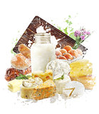 Watercolor Image Of Dairy Products