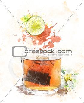 Watercolor Image Of  Tea