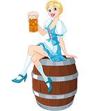 Oktoberfest girl on the keg