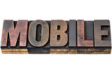 mobile word in wood type