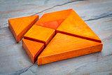 seven tangram  puzzle pieces