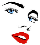 pretty woman face with red lips