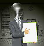 Vector Lamp Head Businessman With Empty Write Board