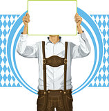 Man With Write Board On Oktoberfest