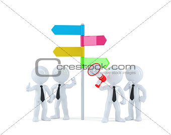 Business team in front of a direction sign. Business concept