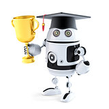 Student robot holding a trophy