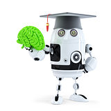 Student robot holding a human brain