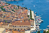 Hvar island yachting harbor aerial view