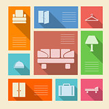 Colored vector icons for hotel with place for text