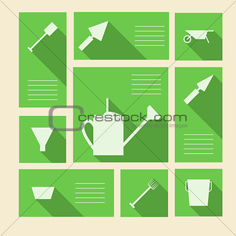 Green vector icons for gardening tools with place for text