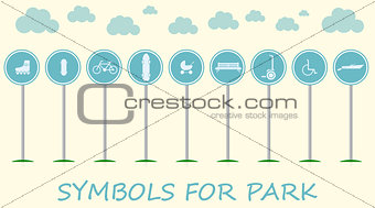 Flat vector illustration with signs for active leisure in the park