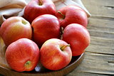 ripe red apples autumn harvest on a wooden plate