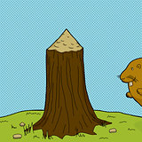 Tree Stump and Beaver