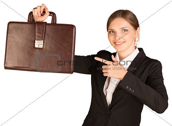 Business woman hold briefcase in hand