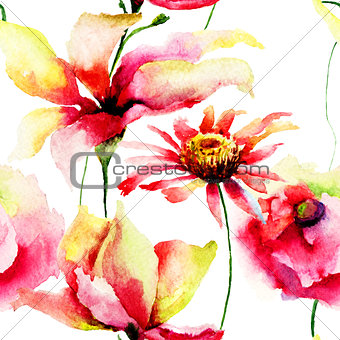 Watercolor painting of Lily and Daisy flowers