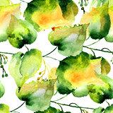 Seamless pattern of green linden leaves