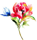 Watercolor painting of spring flowers