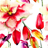 Seamless wallpaper with red summer flowers