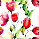 Tulips and Poppy flowers illustration