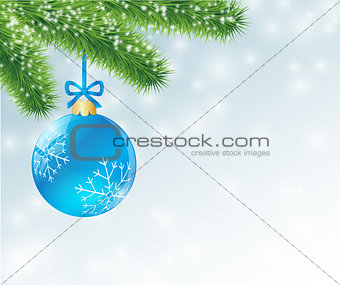 christmas blue ball decorated