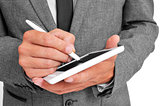 businessman using a stylus pen in his tablet