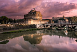 The Mausoleum of Hadrian, known as Castel Sant Angelo and the Sa