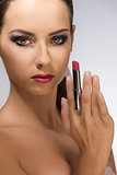 make-up woman in close-up shoot