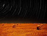 Night landscape of farm field
