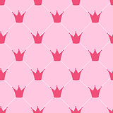 Princess Crown Seamless Pattern Background Vector Illustration