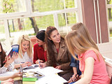 teens group in school