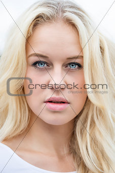Blond girl outdoor portrait