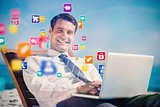 Composite image of cheerful young businessman lying on a deck chair with his computer