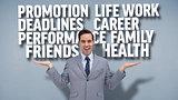 Composite image of smiling businessman presenting