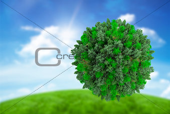 Composite image of sphere covered with forest