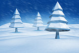 Composite image of fir trees in snowy landscape