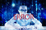 Error against lines of blue blurred letters falling