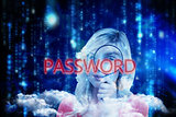 Password against lines of blue blurred letters falling