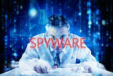 Spyware against lines of blue blurred letters falling
