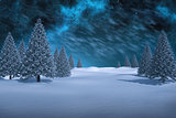 Composite image of white snowy landscape with fir trees