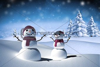 Composite image of snow people
