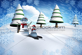 Composite image of snow man family