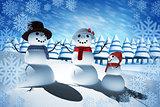 Composite image of snow man